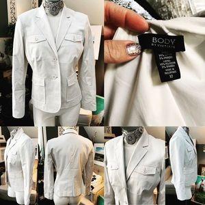BODY BY VICTORIA blazer Sz 10 Lined Cotton/Spandex